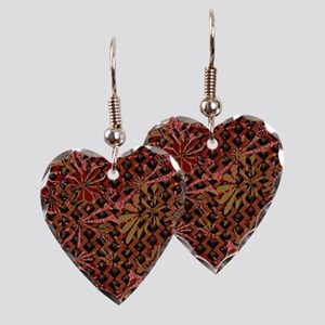 Floral Artwork Pattern Earring Heart Charm