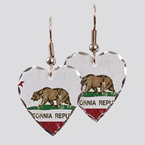 California Republic Distressed Flag Earring