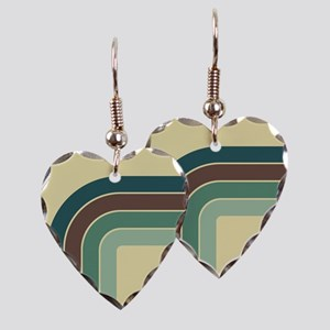 Retro Blue-Green Curve Earring Heart Charm