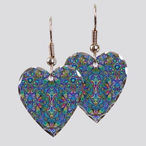 Colorful Abstract Psychedelic Earring Heart Charm