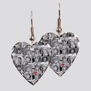 I Love Lucy Face Collage Earring Heart Charm