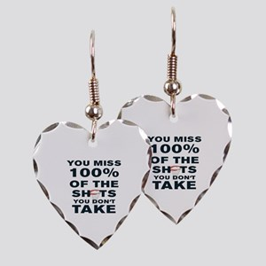 YOU MISS 100% OF THE SHOTS YOU Earring Heart Charm