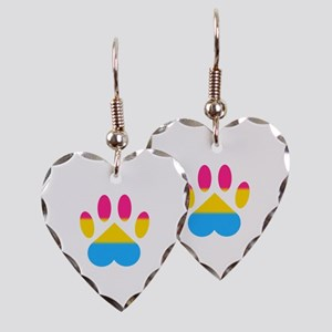 Pansexual Pride Paw Earring Heart Charm