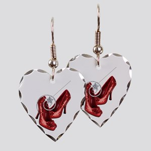 Ruby Red Slippers and Wand Earring Heart Charm