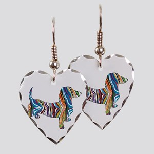 Psychedelic Doxie Dachshund Earring Heart Charm