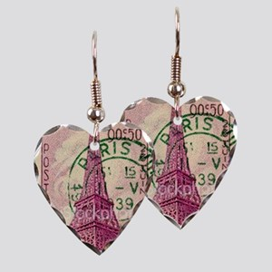 Vintage Stamp Earring Heart Charm