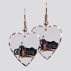 Bike and Babe Earring Heart Charm