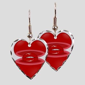 b9cf7b2326 Heart with Lips Inside Earring Heart Charm