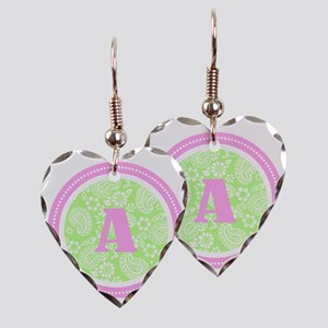 Lime Paisley Monogram-A Earring Heart Charm