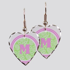 Lime Paisley Monogram-M Earring Heart Charm