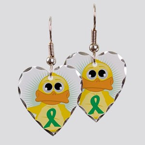 Green-Ribbon-Duck Earring Heart Charm