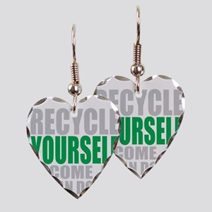 Recycle-Yourself-Organ-Donor-T Earring Heart Charm