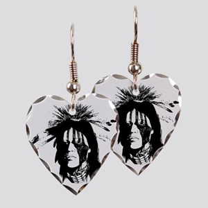 American Indian Warrior with P Earring Heart Charm