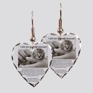 I am an Animal Rescuer Earring Heart Charm