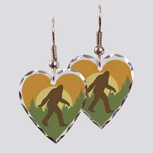 Bigfoot Love Earring Heart Charm
