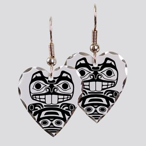 Native American Beaver Earring Heart Charm