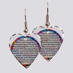 hans quote button Earring Heart Charm