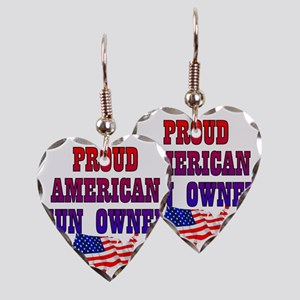 PROUD GUN OWNER Earring Heart Charm