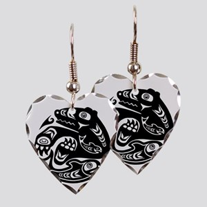 Native American Bear and Fish Earring Heart Charm