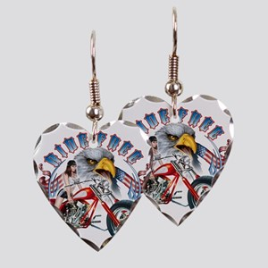 CP1011-Ride Free Babe And Eagl Earring Heart Charm
