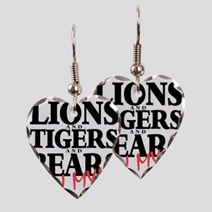 Lions tigers bears Earring Heart Charm