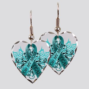 I Wear Teal for my Mom Earring Heart Charm