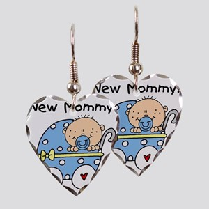 Carriage New Mommy of Boy Earring Heart Charm