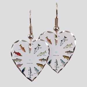 North American Salmon and Trou Earring Heart Charm