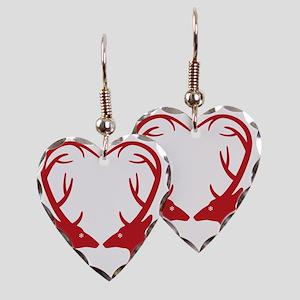 34d4bb443d Christmas deers with heart sha Earring Heart Charm