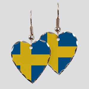 Swedish Flag Earring Heart Charm