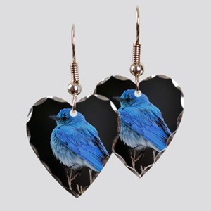 Mountain Blue Bird Earring Heart Charm