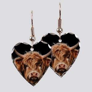 Highland Cow Portrait In Colou Earring Heart Charm