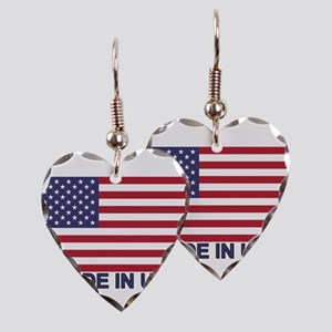 MADE IN USA (w/flag) Earring Heart Charm