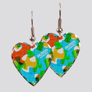 Autism Awareness Puzzles Earring Heart Charm