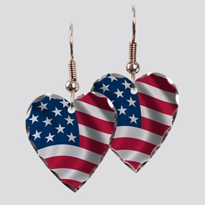USA Flag Earring Heart Charm