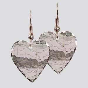 Vintage Map of The White Mount Earring Heart Charm