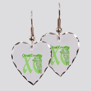 Cross Country XC green Earring Heart Charm