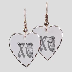 Cross Country XC grey gray Earring Heart Charm