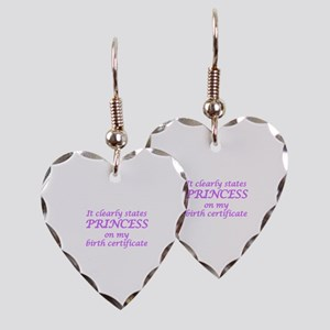 IT CLEARLY STATES PRINCESS ON  Earring Heart Charm