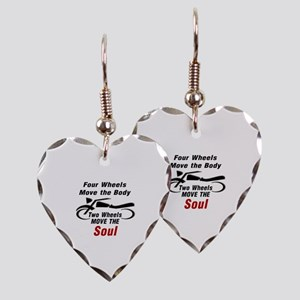 MOTORCYCLE - FOUR WHEELS MOVE  Earring Heart Charm