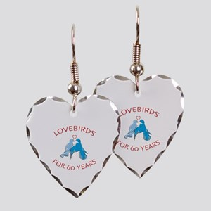 60th Anniversary Lovebirds Earring Heart Charm