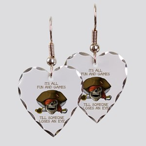 Its All Fun & Games Earring Heart Charm