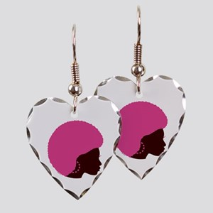 Pink Afro Earring Heart Charm