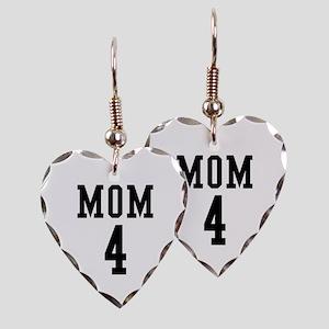 Mom of 4 Earring Heart Charm