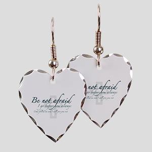 Be Not Afraid - Religious Earring Heart Charm