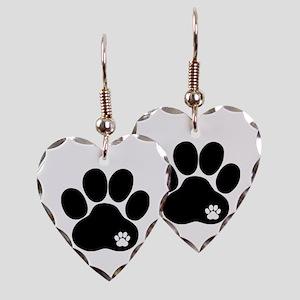 Double Paw Earring Heart Charm