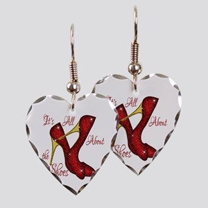 Red Ruby Slippers Earring Heart Charm