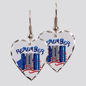 Remember 9/11 - Twin Towers Earring Heart Charm