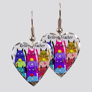 retired teacher 2 Earring Heart Charm
