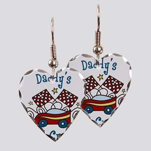 Daddys Pit Crew Earring Heart Charm